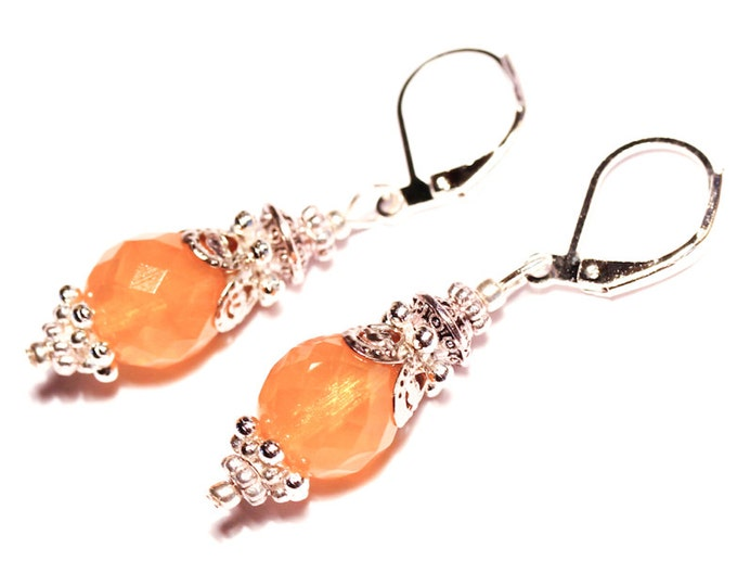 Earrings with honey faceted glass bead and silver elements