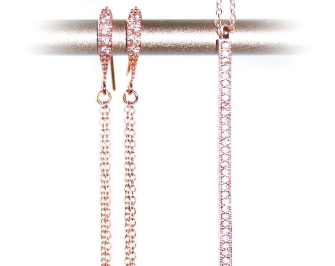 Set with earrings and pendant, rose gold plated with zirconium