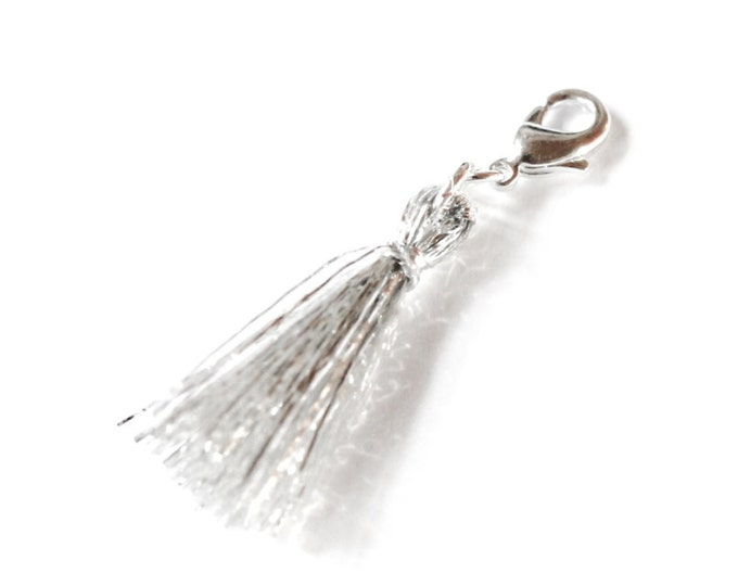 Charm/pendant with a 2,5 cm silver tassel