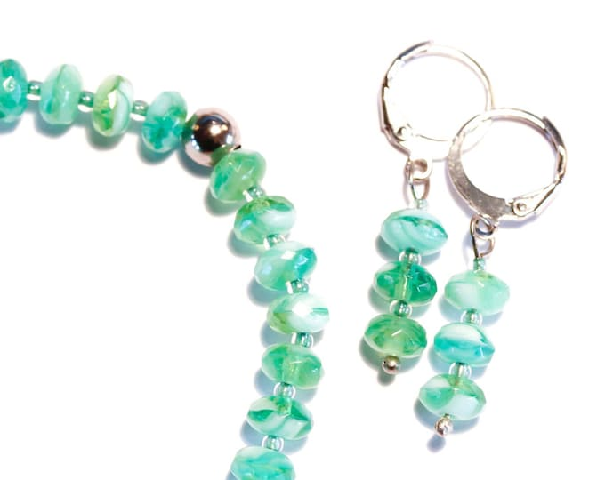 Set bracelet + earrings with teal, green and white glass beads