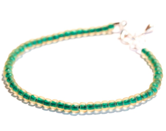 Bracelet with premium Toho beads, frosted green and yellow