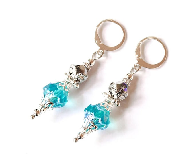 Earrings with amazing blue baroque bicone beads and silver elements