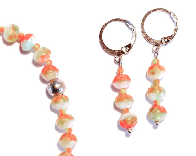 Set bracelet + earrings with orange, white and lime glass beads