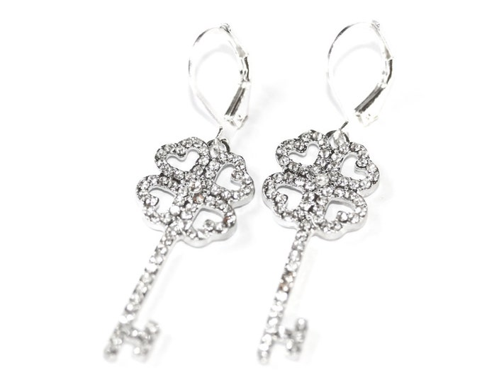 Silver leverback earrings with 3 cm rhinestone keys