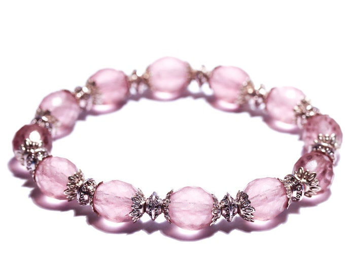Gorgeous bracelet with 10 mm frosted pink glass beads