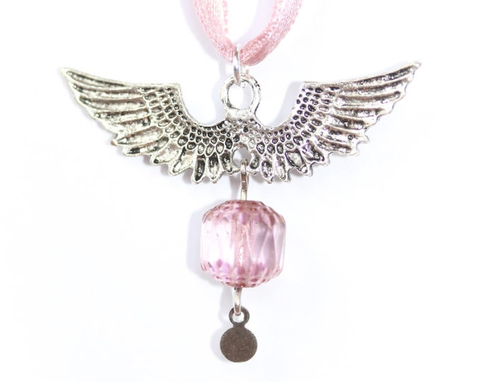 50 cm necklace with angel wings, pink glass bead and pink satin ribbon