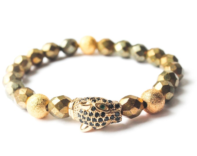 Bracelet with a panther or leopard head with zirconium, gold and black