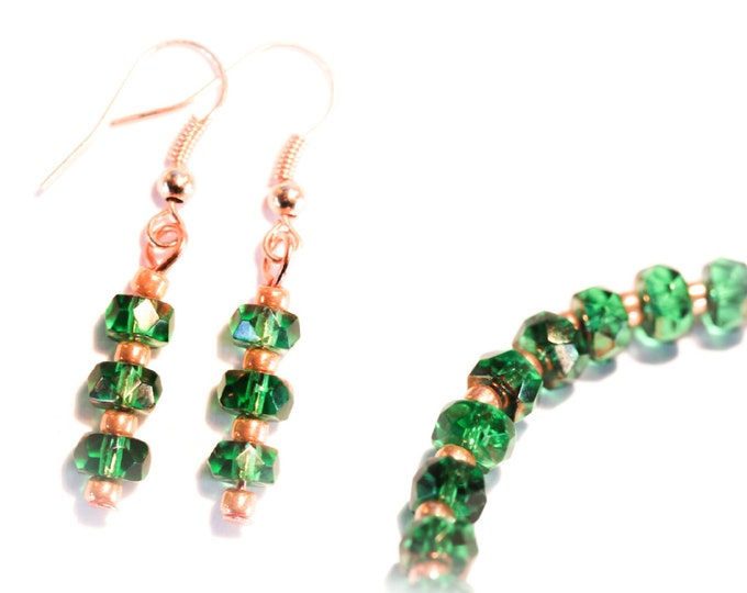 Set bracelet + earrings with green faceted glass beads and rose gold elements