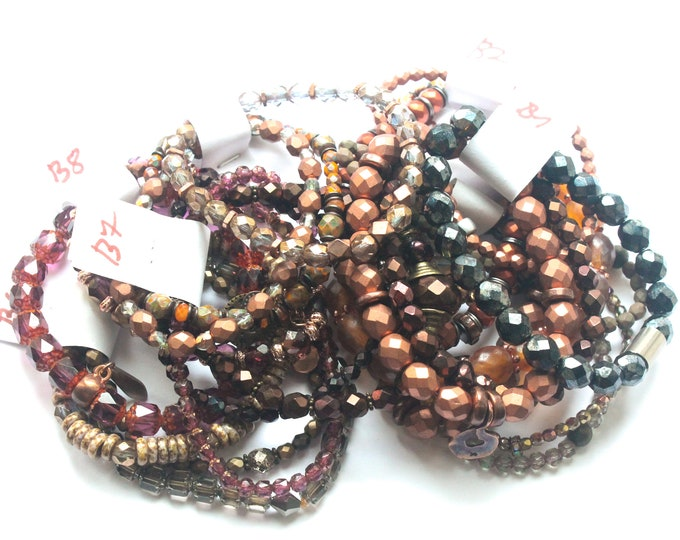 DESTOCK ! Bracelets with Czech glass beads - red, burgundy, brown, beige... several sizes and colours