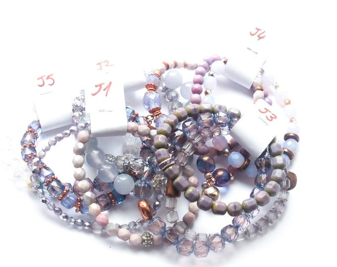 DESTOCK ! Bracelets with Czech glass beads - purple, lilac, several sizes and colours