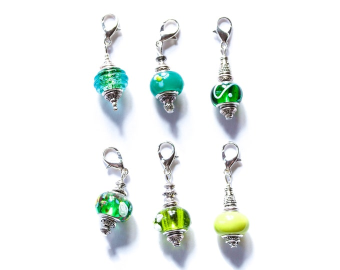 Charm / dog collar charm / pendant, with green Murano glass charm and silver lobster clasp