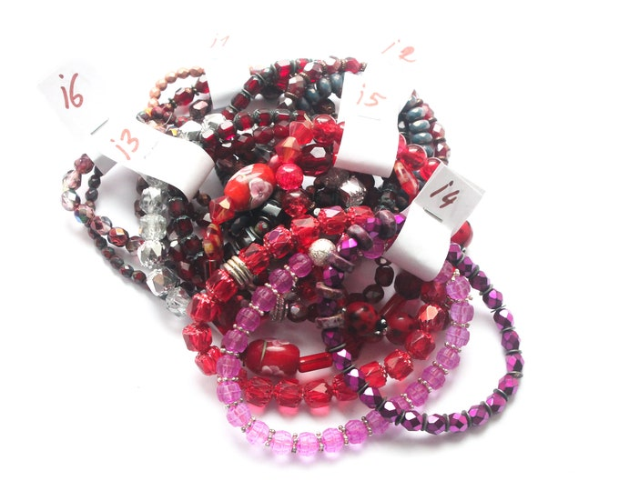 DESTOCK ! Bracelets with Czech glass beads - pink, red, burdundy, several sizes and colours