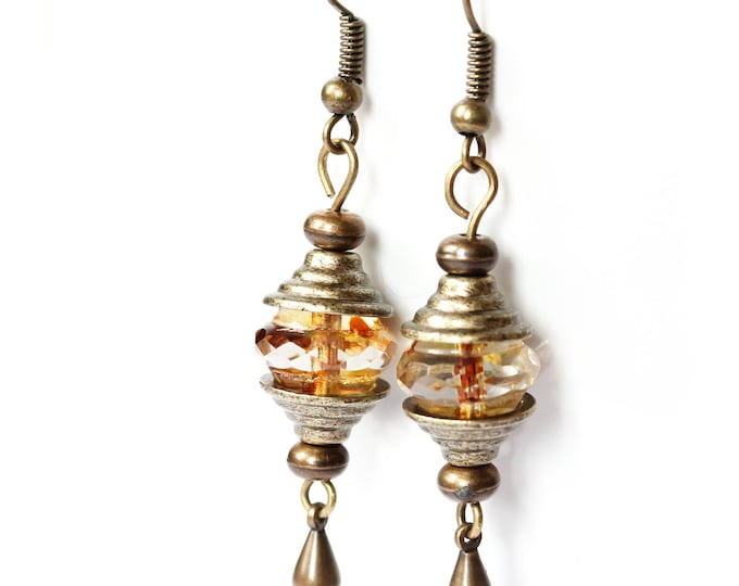 Earrings with amazing honey baroque beads and bronze elements