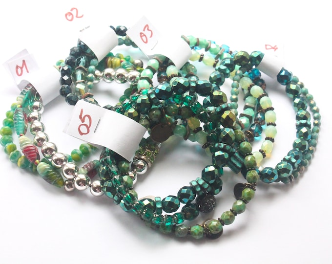DESTOCK ! Bracelets with Czech glass beads - Green, several sizes and colours