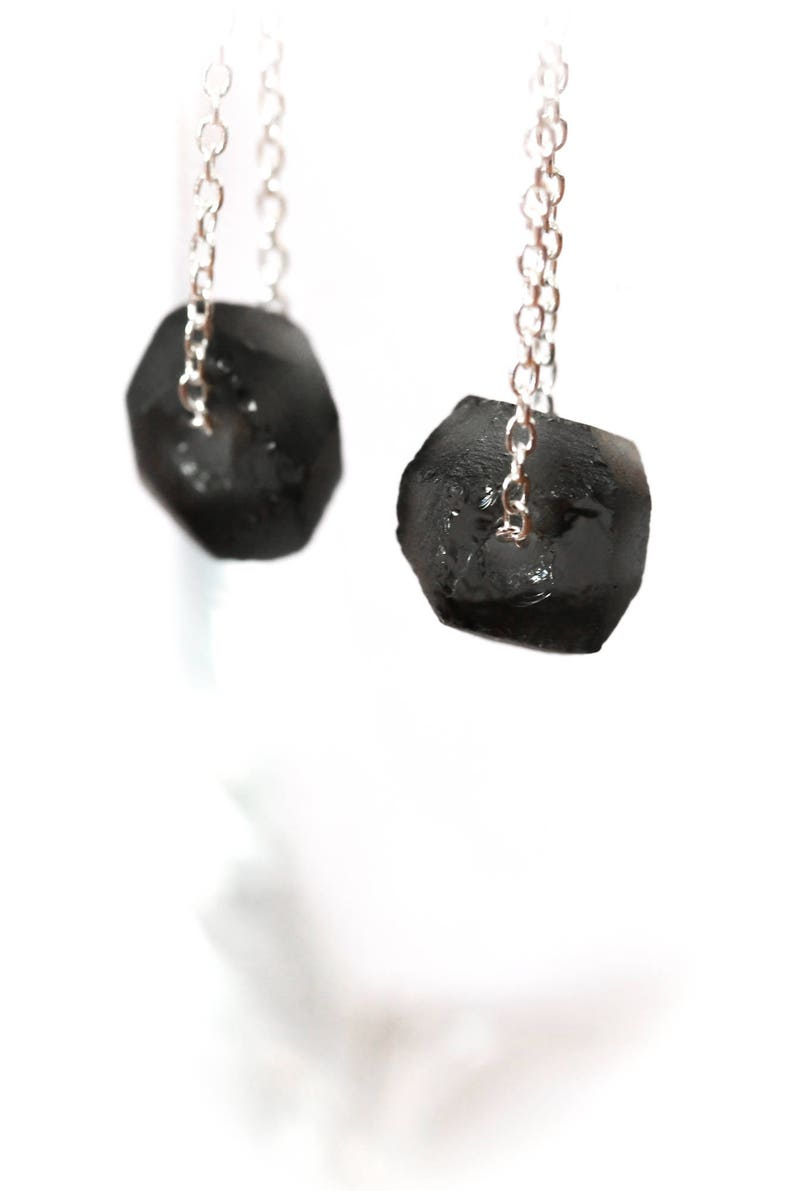 Earrings with black sea glass beads