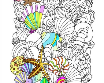 Printable Seashells Coloring Page