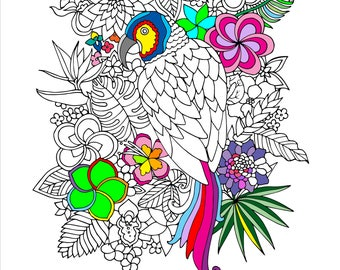 Printable Tropical Parrot Coloring Page