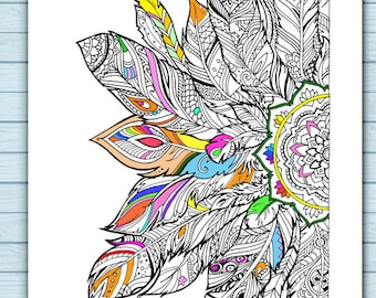 Printable Mandala Feathers Coloring Page
