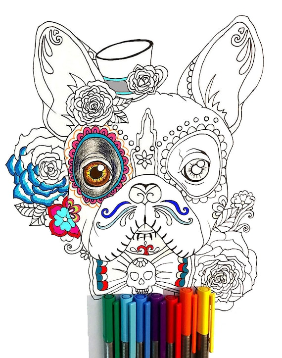 Day Of The Dead French Bulldog Coloring Page Etsy