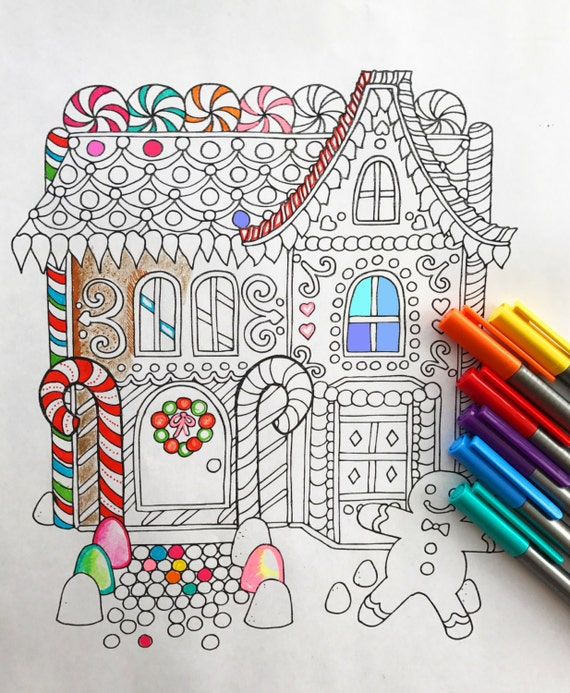 - Holiday Gingerbread House Coloring Page Etsy