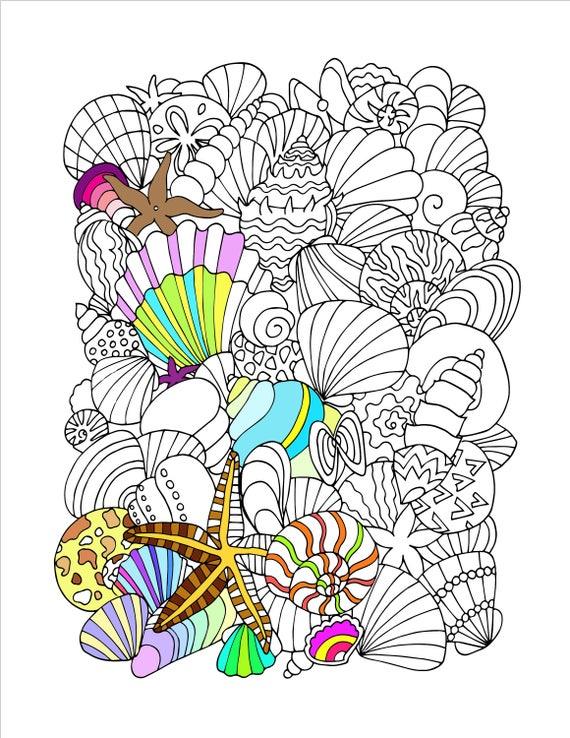 Printable Seashells Coloring Page Etsy