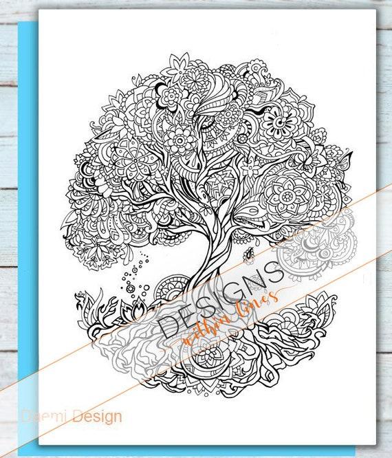 Printable Mandala Tree Coloring Page