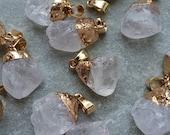 Raw White Quartz Crystal Pendant, Freeform Pendant with raw stone, Gemstone Necklace, Nugget Pendant