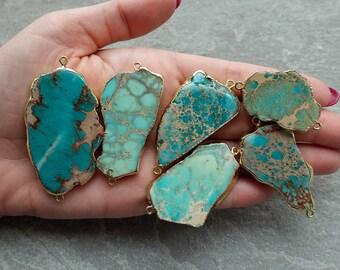Natural Lapis Lazuli Turquoise Emerald Gold Plated Tamble Connector Make DIY