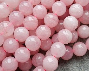 5 Sizes -  Natural Rose Quartz Beads, Round Gemstone Beads 4mm 6mm 8mm 10mm 12mm beads 10 pcs or 1 strand