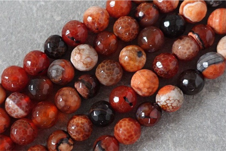 Fire Agate Faceted Round Beads 10mm Red 35 Pcs Gemstones DIY Jewellery Making