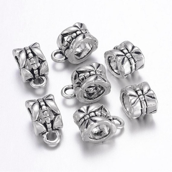 10 x Antique Silver Charm Hanger Bail Link For Jewellery Making 7.5 mm x 15 mm