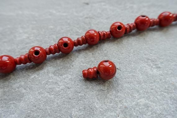 10mm 2 Piece Natural Rhodonite Jasper Mala Guru Bead 3 hole bead for mala Pink Jasper Meru Buddhist bead