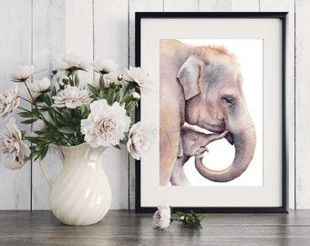 Asian elephant, A4 size, watercolour print, wall art