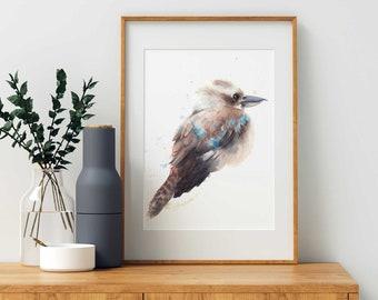 Kookaburra, A4 size, watercolour print, Australian, wildlife, bird wall art, watercolor