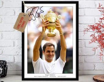 6df51166a7573 Roger Federer   Men s Singles Tennis Wimbledon 2017   Autographed Signed  Photo Print