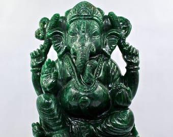 "Big 13565CTS 8""Inch Natural GREEN QUARTZ Lord Ganesha STATUE For Home Decor"
