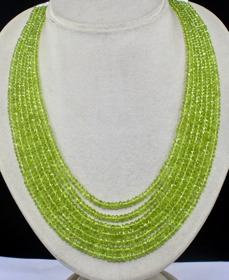 7 Line 623 Cts Natural PERIDOT FACETED ROUND Beads Semi-Precious Necklace