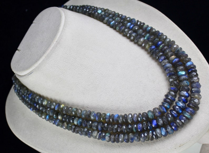 3 Line 833 Carats Natural LABRADORITE FACETED Round BEADS Necklace With Silver Hook