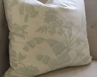 "Brunschwig et Fils Green Botanical Toile Pillow Cover, 18""x18"""