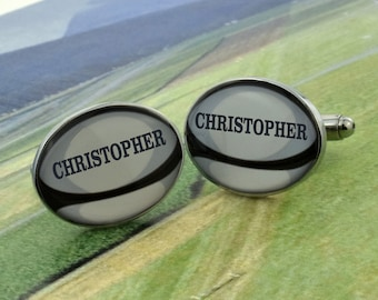 Brown Rugby Balls Cufflinks /& Gift Pouch Rugby Player Sport