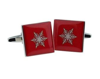 Christmas cufflinks Christmas gift Blue Christmas Sweater print cufflinks Snowflake cufflinks Scandinavian folk art cufflinks