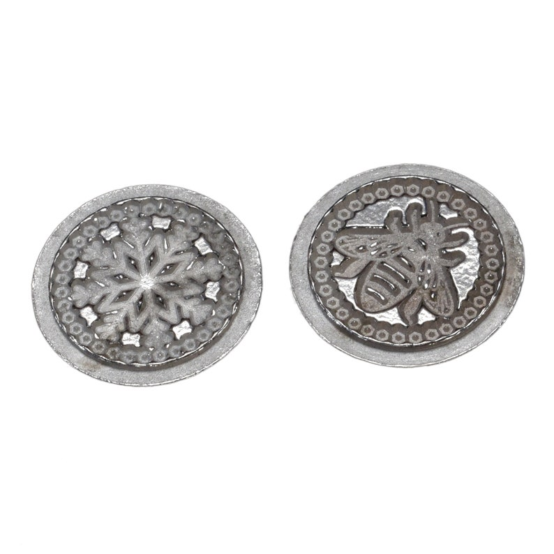 English Made Pewter Ball /& Claw Handled Wax Seal Kit with Bee and Snowflake Coin Seals
