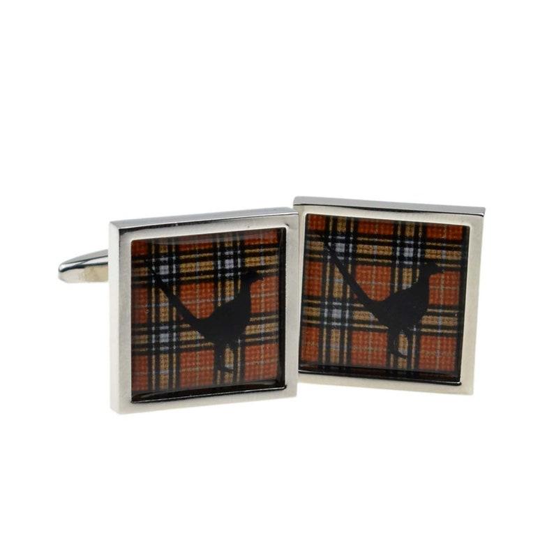 Tartan Pheasant Design Cufflinks in a Personalised Cufflink Box