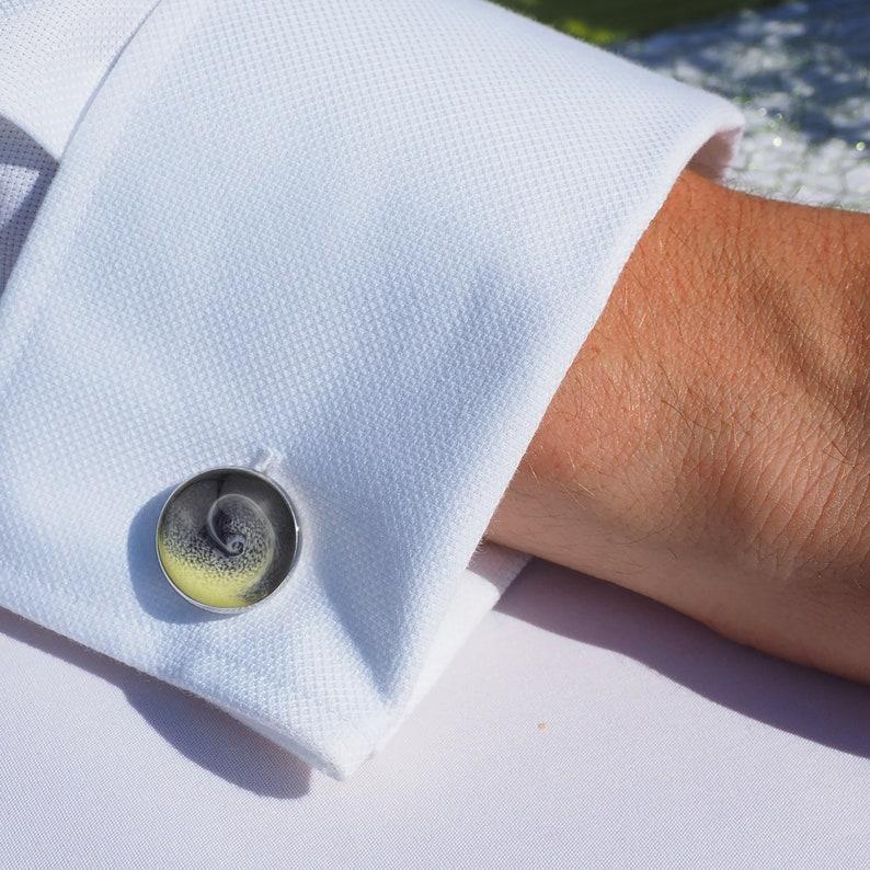 Handmade Round Resin Hurricane Design Cufflinks with optional engraved leatherette Cufflink Box
