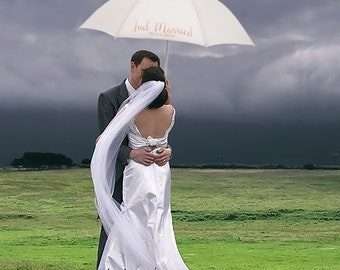 Personalised Just Married with Couples Names White Wedding Umbrella Parasol
