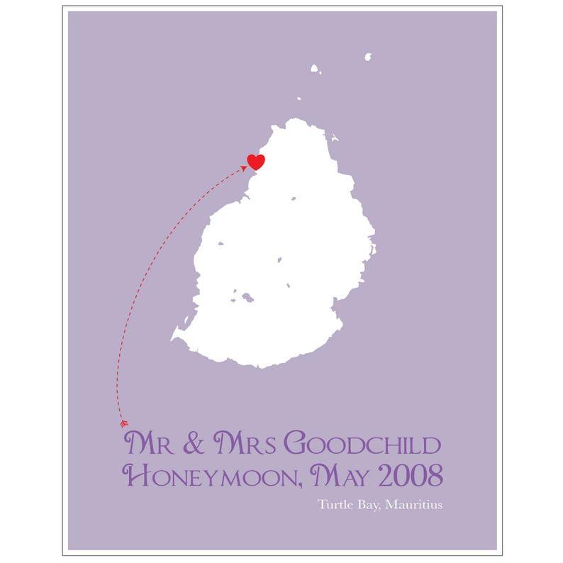 Honeymoon In Mauritius Personalised Print