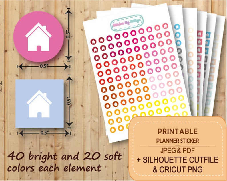 Chore stickers Instant download CUT FILE PRINTABLE Home stickers Silhouette Erin Condren Planner Stickers STR030 House stickers