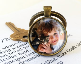 Custom Photo Keyring Round, Personalized Photo Key Chain, Your Own Photo Key Ring, Personalised Keyring, Christmas Gift, Mother's Day Gift