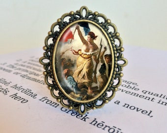 Liberty Leading the People Brooch - French Revolution Jewelry, Eugene Delacriox Pin, Marianne Brooch, Vintage Bastille Day Jewellery