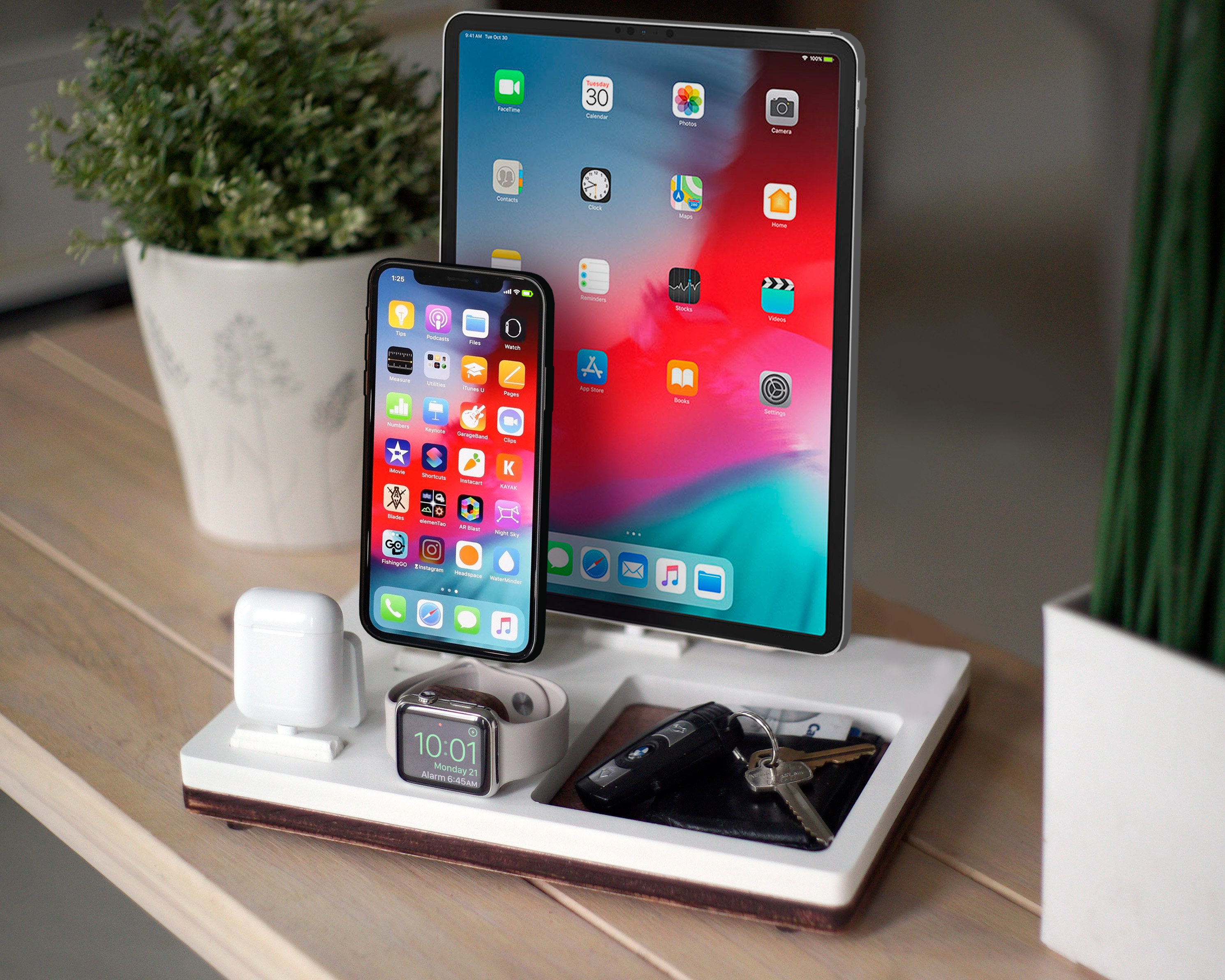 newest c5679 1def6 TRAY 4 White | Charging Station | Wireless iPhone Xs Xr iPad Apple Watch  AirPods | Multiple Device Organizer | Birthday Present | Home Decor